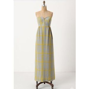 Anthropologie Blue & Yellow Silk Maxi Dress Size 0